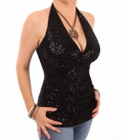 Black Velour Sequin Figure Hugging Halter Top