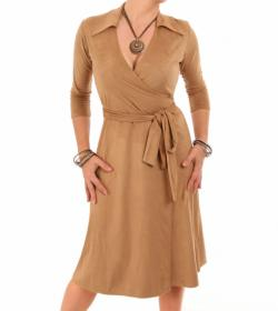 Camel Faux Suede Wrap Dress