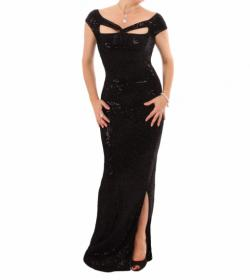 Black Sequin Velour Cut Out Maxi Dress