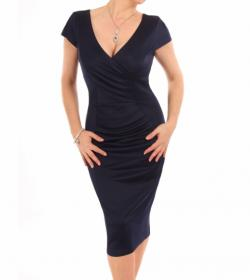 Navy Blue V Neck Fitted Shift Dress