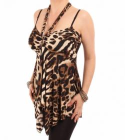 Animal Print Strappy Halter Neck Top
