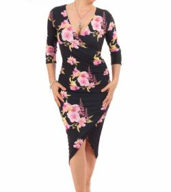 Black and Pink Floral Mock Wrap Dress