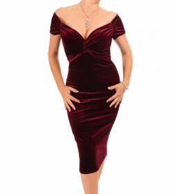 Wine Velour Bardot Dress