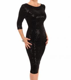 Black Velour Sequin Bodycon Dress