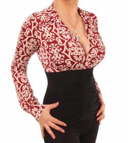 Wine and Ivory Printed Corset Top
