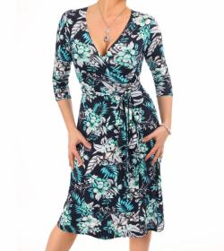 Navy Blue and Turquoise Floral Wrap Dress