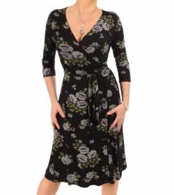 Black and Green Floral Print Wrap Dress