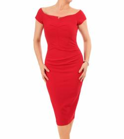 Red Bardot Style Notch Dress
