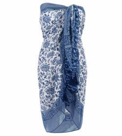 Blue and White Printed Tassel Scarf / Sarong