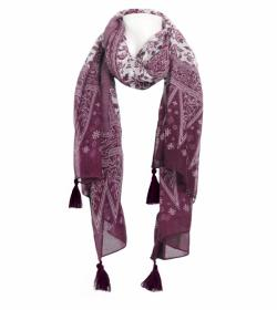 Plum and White Printed Tassel Scarf / Sarong