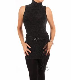 Black and Silver Sparkly Lurex Roll Neck Tunic Top