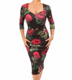 Black and Red Rose Print Midi Dress