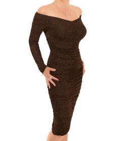 Bronze Sparkle Off the Shoulder Ruched Dress