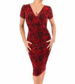 Red Burnout Velour Dress