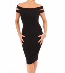 Black Cut Out Bardot Dress