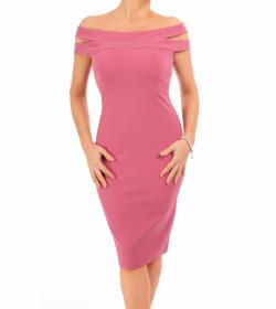 Pink Cut Out Bardot Dress