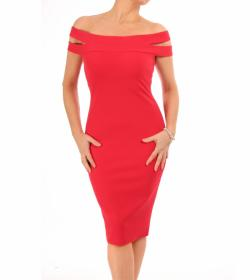 Red Cut Out Bardot Dress