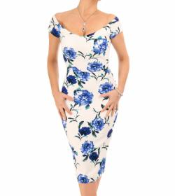 Blue and White Floral Bardot Midi Dress