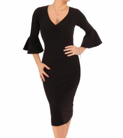 Black Bell Sleeve Midi Dress