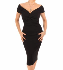 Black Bardot Twist Midi Dress