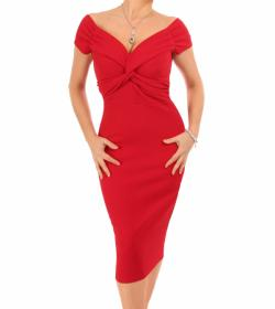 Red Bardot Twist Midi Dress