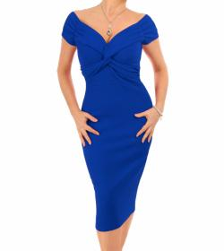 Royal Blue Bardot Twist Midi Dress