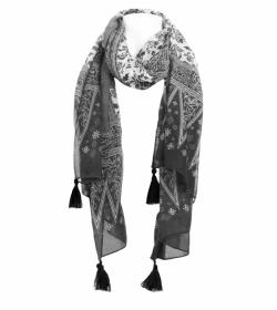 Black and White Printed Tassel Scarf / Sarong