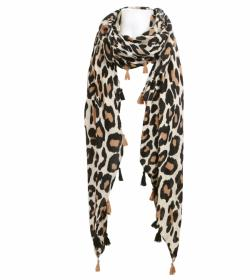 Beige and Cream Animal Print Tassel Scarf / Sarong