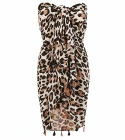 Black and Cream Animal Print Tassel Scarf / Sarong