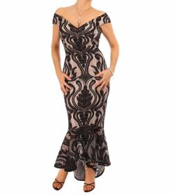 Black and Nude Fishtail Bardot Dress