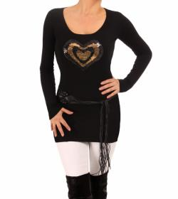 Black and Gold Sequin Heart Jumper