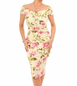 Lemon and Pink Floral Bardot Dress