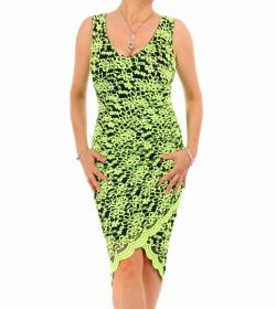 Lime Green Lace Ruched Dress