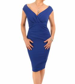 Cobalt Blue Ruched Bardot Dress