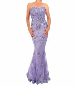 Lilac Sequin Strapless Maxi Dress - Tall