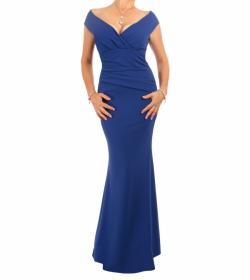 Cobalt Blue Bardot Fishtail Maxi Dress - Tall