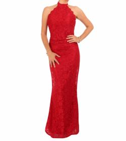 Red Lace Choker Maxi Dress