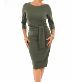 Khaki Sash Detail Pencil Dress