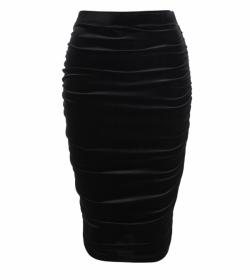 Black Ruched Velour Stretchy Skirt