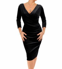 Black Velour V Neck Ruched Dress