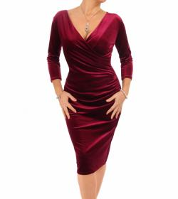 Wine Velour V Neck Ruched Dress