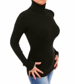 Black Ribbed Polo Neck Clingy Jumper
