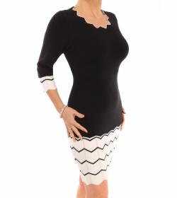 Black and Ivory Knit Mini Jumper Dress