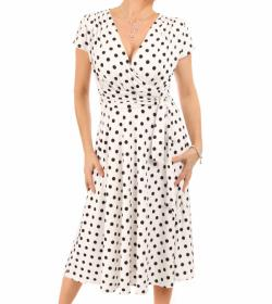 Ivory and Black Spot Fit and Flare Dress