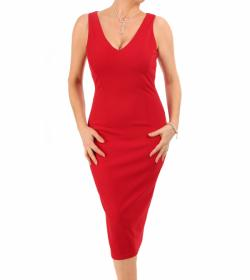 Red V Neck Pencil Dress