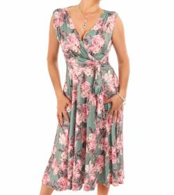 Green and Pink Floral Fit and Flare Dress