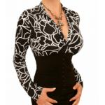 Black and White Squiggle Print Corset Top