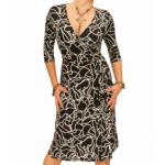 Black and White Squiggle Print Wrap Dress
