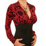 Red Squiggle Print Corset Top