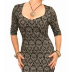 Black and Grey Jacquard Stretch Shift Dress